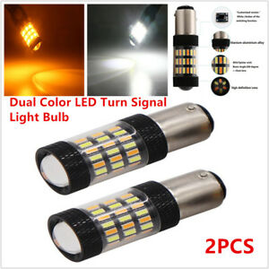 2X 1157 4014 LED Dual Color White Amber Switchback Turn Signal Light Bulb 60SMD