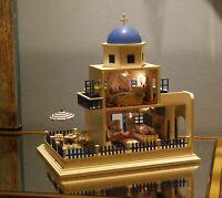 Dollhouse Miniature Furniture Kit w/LED Light Wood Santorini Doll House DIY Kids