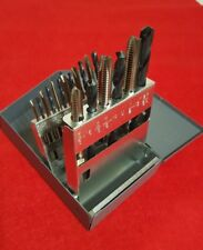 NEW 19 PIECE TAP AND DRILL SET WITH HUOT METAL CASE. ALL HIGH QUALITY USA MADE!!