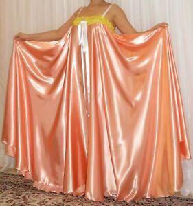 VTG Lingerie Silky Satin Slip FULL Sweep Negligee Babydoll LONG Nightgown M- 6X