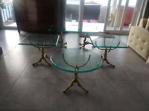 A Round St Globain Glass Coffee Table 1950 s