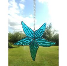Handmade Stained Glass Blue Starfish Suncatcher, Gift, Seaside, Decoration