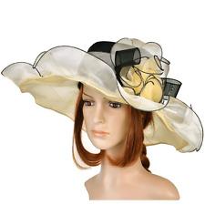 Kentucky Derby Women Vintage Dress Wide Brim Church Hats, Floppy Sun Hat New