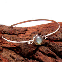 Natural Labradorite Gemstone 925 Sterling Silver Bangle Bracelet Jewelry