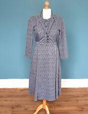 Vintage 80's Grey Dress Retro Boho 8 - 10