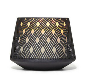 Bath & Body Works Black Basketweave With Base Candle Holder Wick Large Candle
