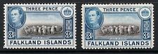 FALKLAND IS 1938 3d black & deep blue sg153 & sg153a cv£23