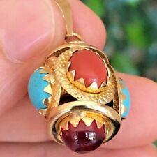 Coral Turquoise And Garnet Multicolor 18 Karat Gold Italian Pendant