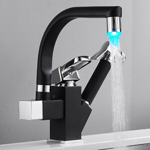 LED Kitchen Sink Mixer Taps Pull Out Spray Head 360° Swivel Spout Brass Tap //