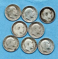 More details for 8 x king edward vii, silver threepence coins 1902 - 1910 (no 1904). job lot.