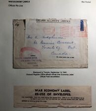 1940 Blackpool England OHMS War Economy Label Cover To Toronto Canada