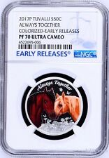 2017 TUVALU Always Together Horses love company Silver Proof NGC PF70 1/2oz Coin