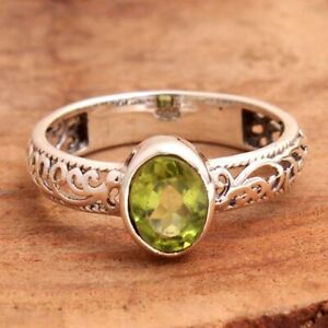 Peridot Gemstone 925 sterling Silver Jewelry Solid Handmade Ring Size US 7