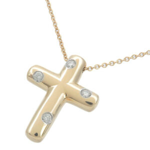 Authentic Tiffany&Co. Dots Cross 4P Diamond Necklace K18YG Yellow Gold Used F/S