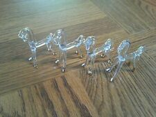 mini blown Glass horses 4ct