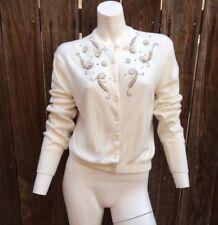 Vintage 50's Women's Cardigan Sweater Cream Soft Button Pearls Rhinestones M