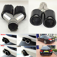 Car Carbon Fiber Exhaust Pipe TWIN Exhaust Tips Left Side Glossy Black For BMW