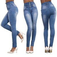 Women Denim Skinny Ripped Pants High Waisted Stretch Jeans Slim Pencil Trousers