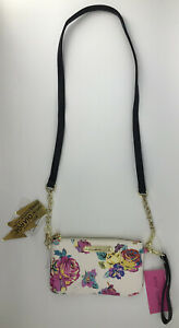 Betsey Johnson Charging Crossbody Wristlet Floral White Pink $78 IPhone Android
