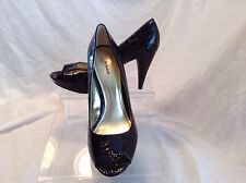 Style & Co. ladies brown synthetic patent leather pep toe pumps in size 10 mediu