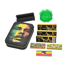 9 Pieces-1X Tobacco Box + 3 X Rolling Papers+ 3X Filter Tips+1 Roller+1 Grinder