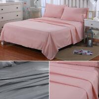 4PCS Bed Sheet Set - Deep Pocket Fitted Sheet Pillow Case Microfiber Queen Gray