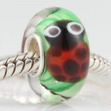 925 Sterling Silver Core, Murano Lampwork Glass Ladybird Charm Bead