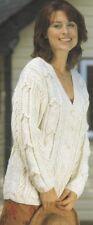 Womens ARAN Knitting Pattern Copy V-neck Cardigan in 10 ply