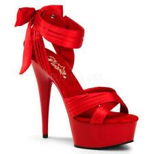 Zapatos de tacón de mujer de tacón alto (más que 7,5 cm) de color principal rojo de lona