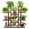 """Extra Large 11Tier Wood Plant Stand 46"""" Tall Carbonized 17 Pot Flower Rack Shelf"""
