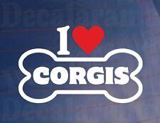 « I Love/ Coeur Corgis » Fantaisie Os Voiture/Sticker Camion Idéal pour