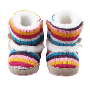 Baby Infant Snow Boots Striped Anti Slip Soft Sole Thermal Cotton Shoes Winter