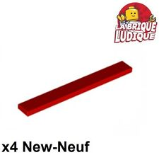 Lego - 4x Tile Plate Smooth 1x8 with Groove Red/Red 4162 New