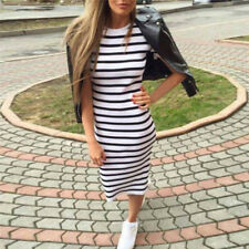 Women Summer Casual Striped Short Sleeve Dress Bodycon Cocktail Long Dress MW