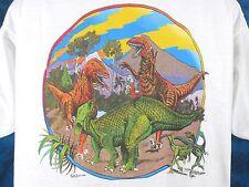 NOS vintage 80s DINOSAUR VOLCANO SUNSET T-Shirt MEDIUM/LARGE t-rex cartoon thin