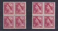 APD170) Australia 1953 3.5d QEII Carmine Red, thin paper