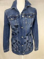 Lu La Roe XS Hip Lenght Med. Wash Jean Jacket Embroidery 432