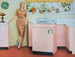 1961 General Electric Washer Dryer Pink Appliances Woman Model Print Ad Vintage