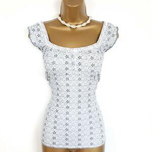 Per Una M&S Cami Top Peasant Vest Embroidered T Shirt UK 14