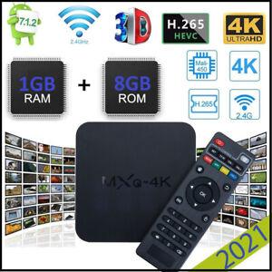 2021 MXQ Pro 4K Streamer UHD Wifi Android Quad Smart TV Box Media Player Lot 8GB