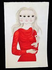 "1970s Hawaii AP 8/46 Print ""Girl in Red Sweater"" by MDH Margaret Keane (JPa)"