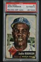 Jackie Robinson (d.1972) HOF Autographed 1953 Topps #1 Signed Dodgers Card PSA
