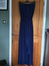 BNWT NEXT Ladies Blue Belted Strapless Bandeau Maxi Dress size 14 Tall