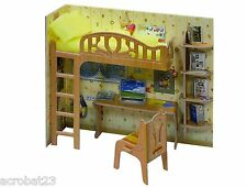 Furniture for Dolls LOFT BED WITH TABLE Dollhouse Miniature Scale 1:12 Model Kit