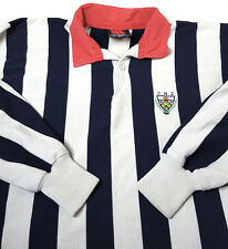 VTG Canterbury CCC Large White Blue Striped Crest Rugby Jersey MADE NEW ZEALAND