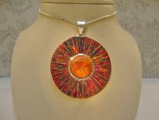 HUGE LARGE SUNBURST RED Fire Opal PENDANT Solid Medallion Sterling