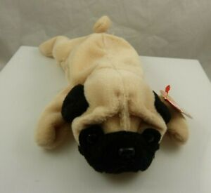 Ty Pugsly Pug  bday May 2 1996 beanie babies beige black