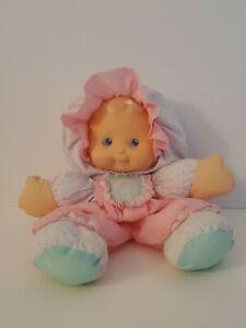 "Vintage 1990 Fisher Price Puffalump Kids Merri 13"" Pink Aqua Baby Doll Plush Toy"