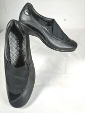 Aravon WST04BK Womens Black Tess Slip On Comfort Walking Clogs Loafers US 9D