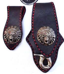 Biker Skull Indian Trucker Handmade Leather Red Stitch Keychain Key Holder SET